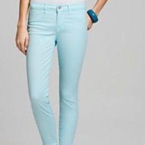 J Brand Aqua Blue Skinny Leg Jeans